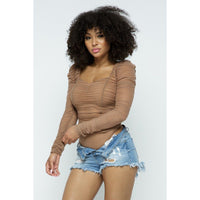 Long Sleeve Ruched Wrinkle Bodysuit