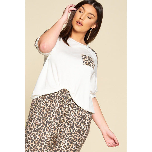 Plus Size Leopard Print Pocket French Terry Top
