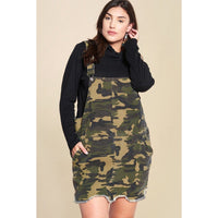 Plus Size Camouflage Overall Mini Dress w/Pockets and a Frayed Hem