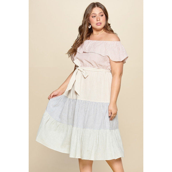 Plus Size Tiered Off the Shoulder Flounce Dress