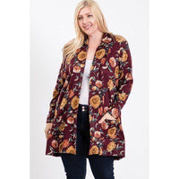 Plus Size Flower Print Hacci Cardigan w/Pockets