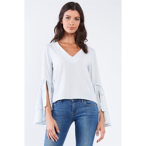 Long Bluebell Slit Draw String Tie Double Frill Sleeve Top