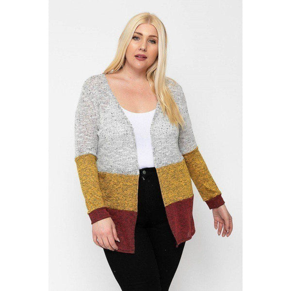 Plus Size Lightweight Color Block Cardigan