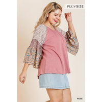 Plus Size Sheer Floral Print Bell Sleeve Round Neck Top
