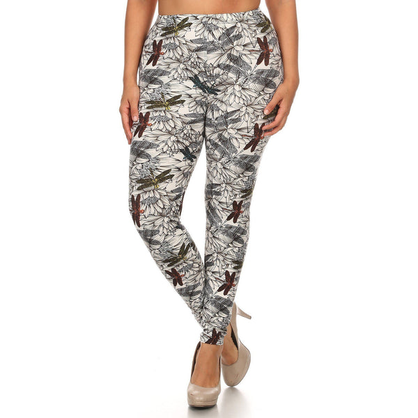 Plus Size Dragonfly Print Fitted Leggings