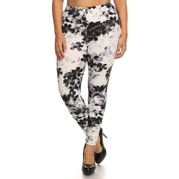 Plus Size Floral Print High Waisted Knit Leggings