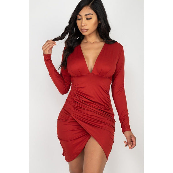 Wrapped Stretch Knit Fitted Mini Dress - Available in 6 Different Colors