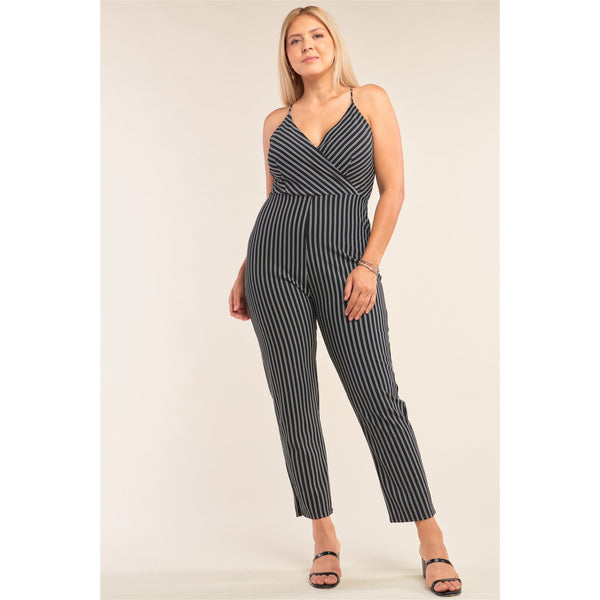 Plus Size Striped Sleeveless Wrap Jumpsuit