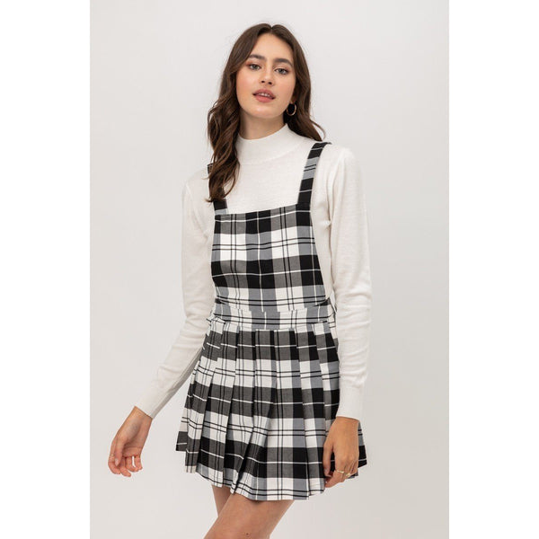 Woven Stretch Pleated Plaid Skirt Overalls