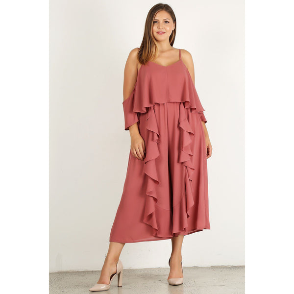 Plus Size Wide Leg 3/4 Sleeve Ruffle Jumpsuit