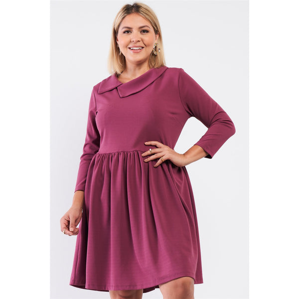 Plus Size Pleated Fit and Flare Asymmetrical Mini Dress