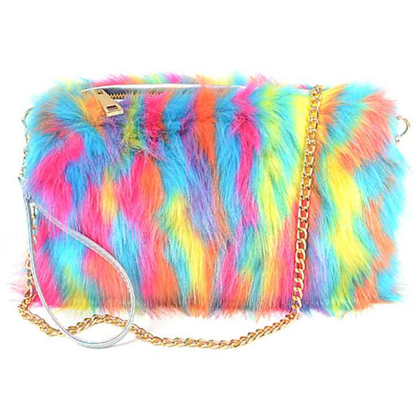 Multicolor Faux Fur Bag with Shoulder Chain and Wristlet