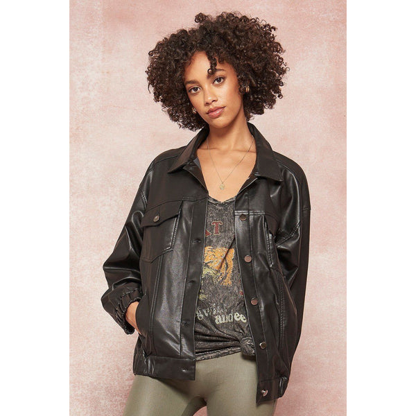 Faux Leather Jacket with Fabric Paisley Print Back