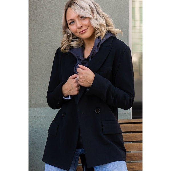 Solid Woven Blazer Jacket