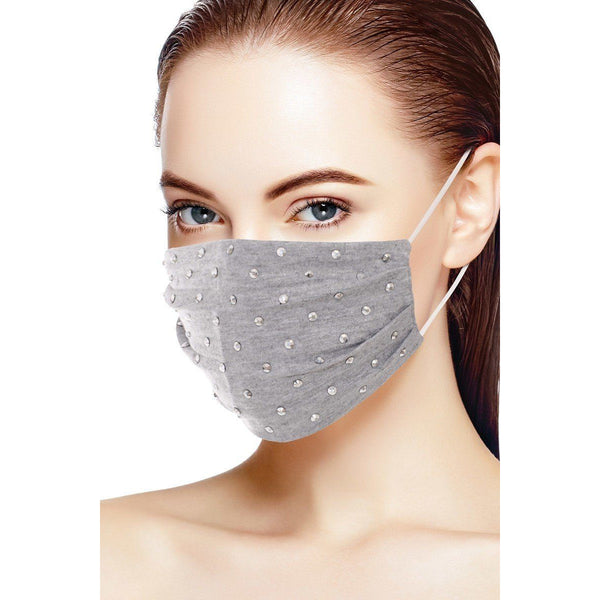 3D Shiny Silver Metal Stud Fashion Face Mask