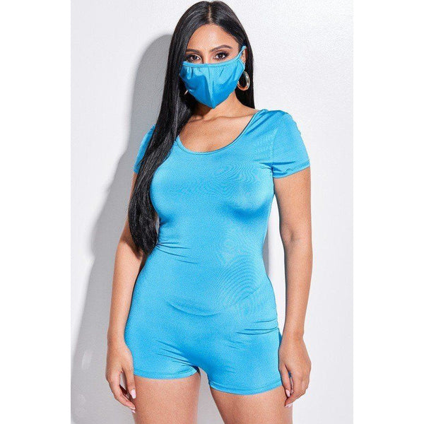 Solid Short Sleeve Scoop Neck Romper and Face Mask Set - 2 Piece