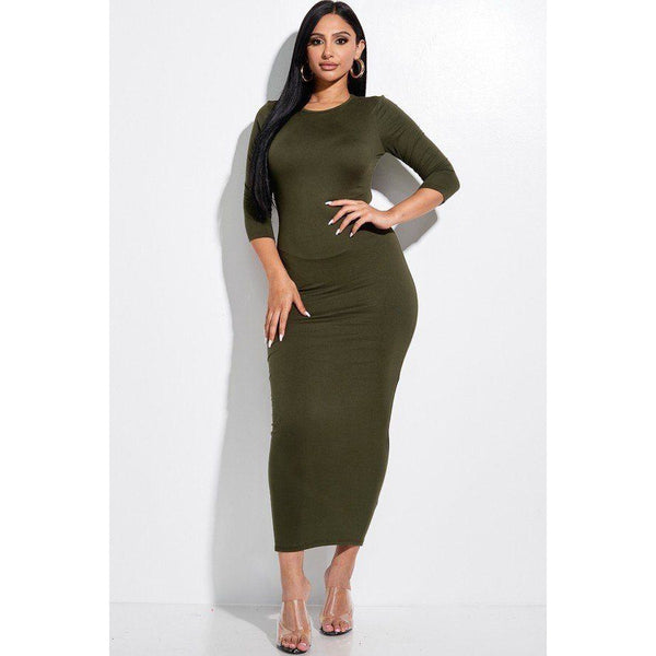 Solid 3/4 Sleeve Midi Dress with a Cut Out Back