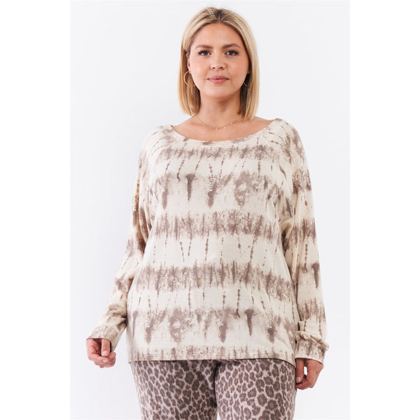 Plus Size Bateau Neck Relaxed Fit Long Sleeve Top