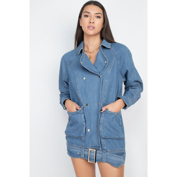 Long Denim Jacket with Front Buttons