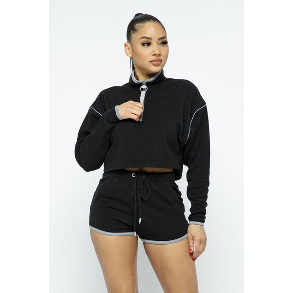 Sporty Crop Top and High Waist Shorts Set
