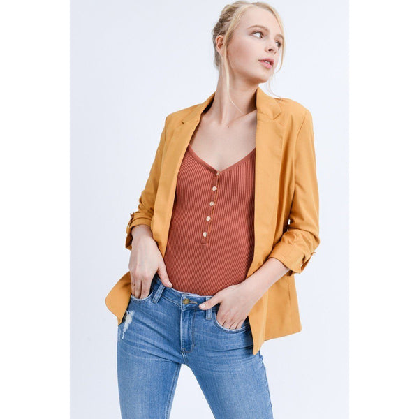 Open Front Roll Up Sleeve Blazer