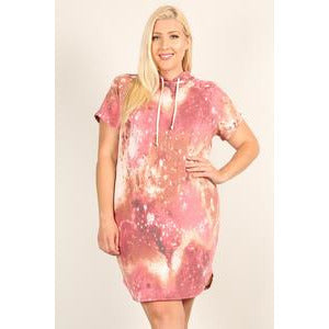 Plus Size Tie Dye Print Relaxed Fit Dress