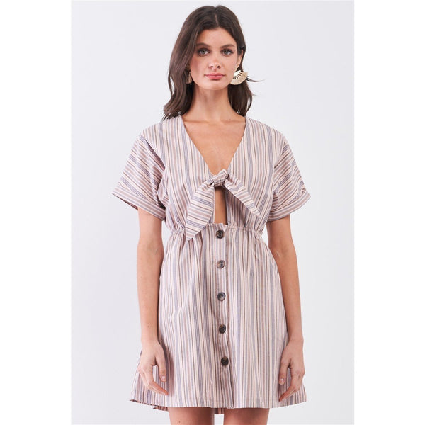 Striped Self Tie Short Sleeve Button Down Mini Shirt Dress