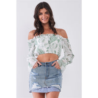 Off the Shoulder Flounce Sleeve Self-tie Cropped Top (Made in the USA)