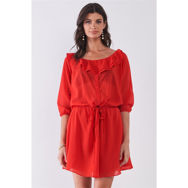 Ruffle Collar Midi Sleeve Self Tie Button Down Mini Dress