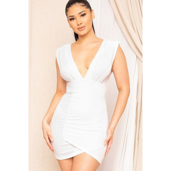 Plunging V-Neck Mini Dress (Made in the USA)