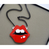 Acrylic Lips and Lipstick Jewelry - Necklace, Earrings and Brooches (FREE SHIPPING)