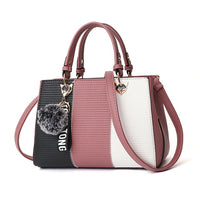 Color Block Handbag w/Shoulder Strap and Pompom Keychain (FREE SHIPPING)