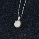 Sterling Silver Opal Pendant Necklace (FREE SHIPPING)