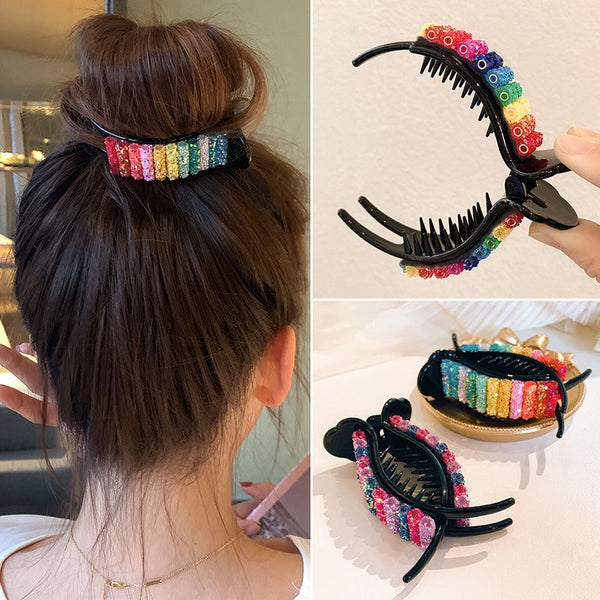 Large Rainbow Hair Clip - 2 Color Combos to Choose From (FREE SHIPPING)