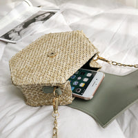 Genuine Leather and Straw Handmade Hexagon Shoulder Bag - 4 Colors (FREE SHIPPING)