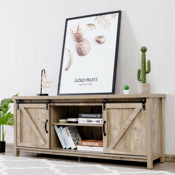 TV Stand with Sliding Barn Door Cabinet (FREE SHIPPING)