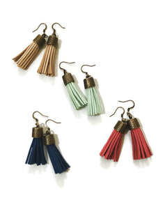 Faux Leather Tassel Earrings