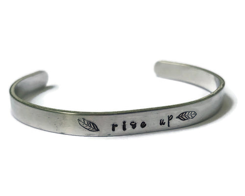 Rise Up - Hand Stamped Metal Bracelet