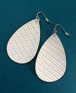 White Woven Teardrop Faux Leather Earrings