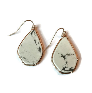 White and Gold Marble Earrings