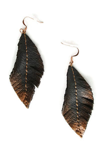 Brown and Copper Leather Fringe Earrings