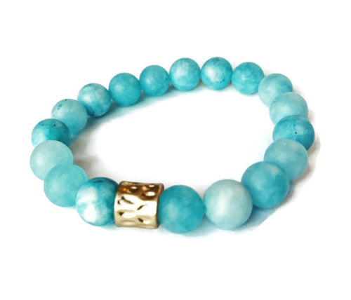 Sky Blue and Gold Stone Bracelet