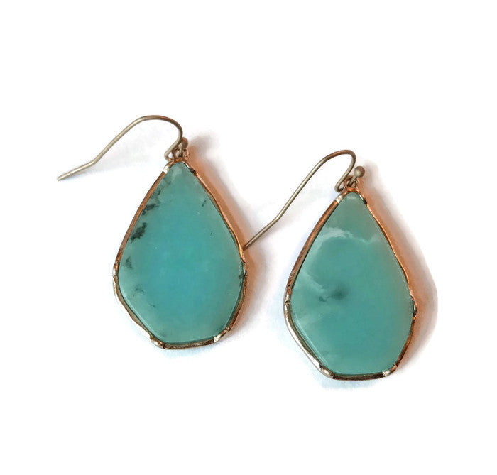 Turquoise and Gold Marble Earrings
