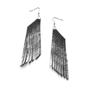 Black and Silver Leather Fringe Earrings