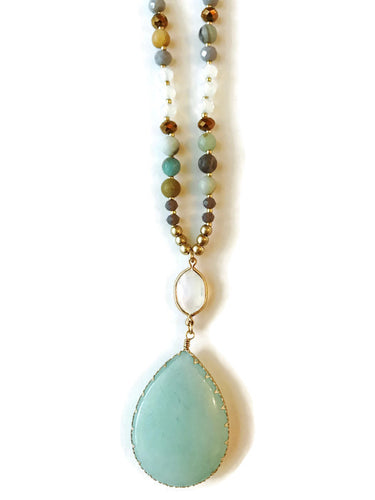 Aqua Teardrop Beaded Necklace