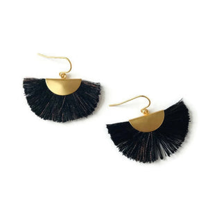 Fan Tassel Earrings - Black and Copper