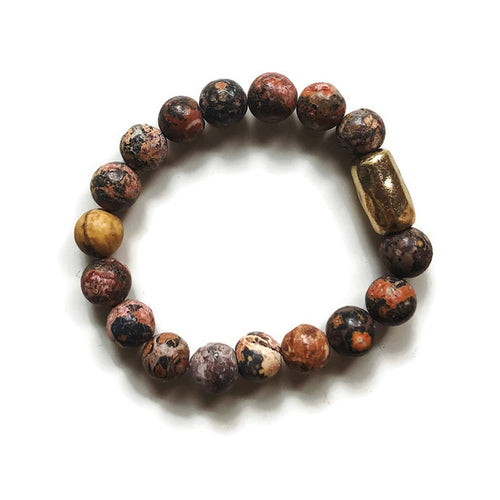 Brown and Gold Stone Bead Stretch Bracelet