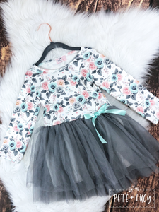 Gray Tulle and Rose Flowered Dress