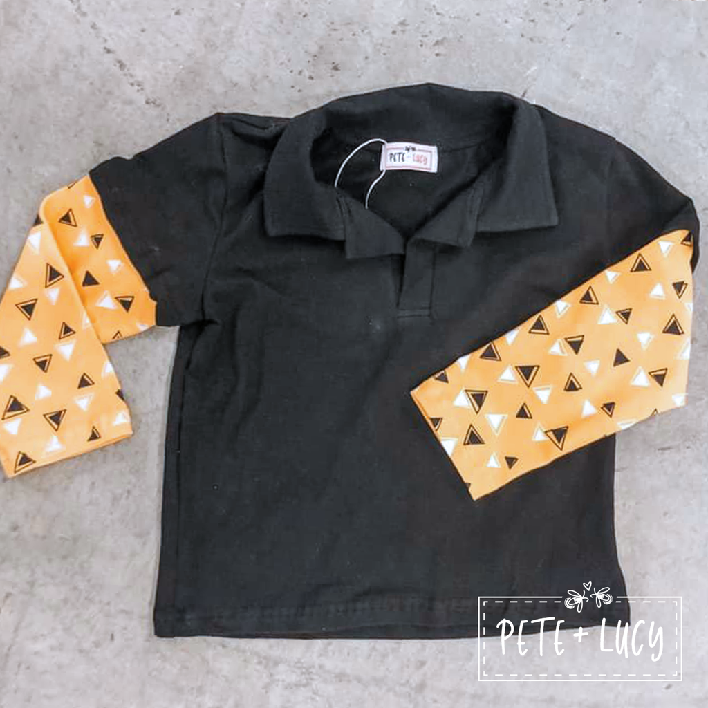 Black Collared and Triangle Shirt