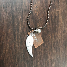 Hand Stamped Feather Necklace with Customized Word